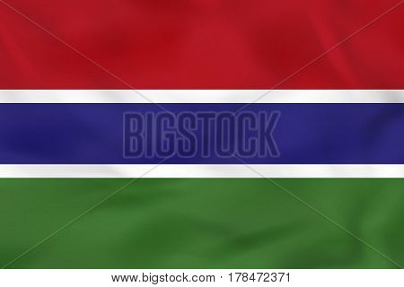 Gambia Waving Flag. Gambia National Flag Background Texture.
