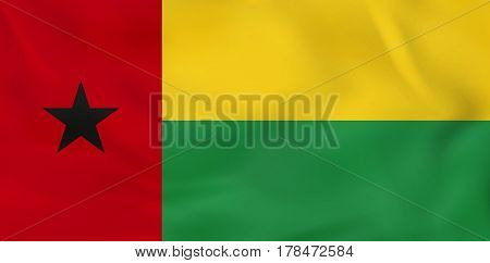Guinea-bissau Waving Flag. Guinea-bissau National Flag Background Texture.