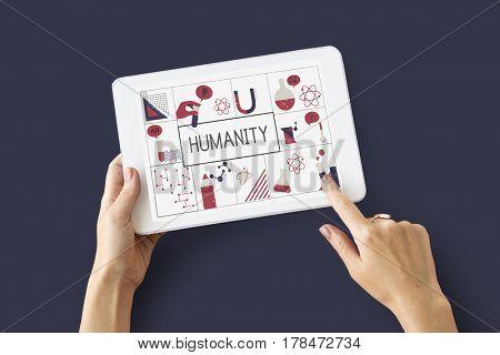 Illustration of biochemistry study scientific research on digital tablet