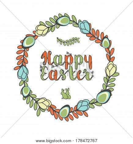 Abstract Holiday Easter Cute Card With Flowers Eggs And Bunny