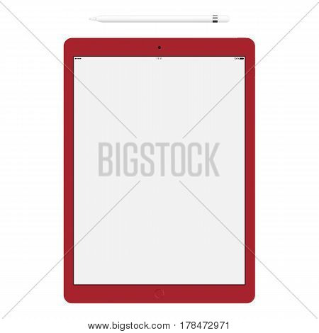 tablet red color and pencil or stylus isolated on white background. stock vector illustration eps10