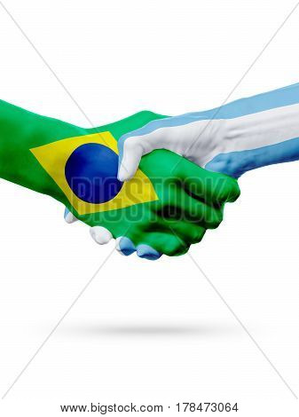 Flags Brazil Argentina countries handshake cooperation partnership friendship or sports team competition concept isolated on white