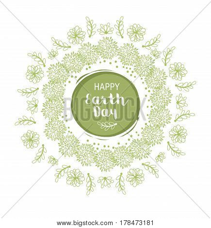 Earth Day Floral Vector Poster Wirh Flowers And Leaves