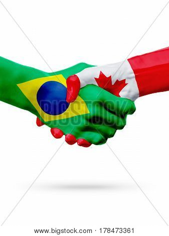 Flags Brazil Canada countries handshake cooperation partnership friendship or sports team competition concept isolated on white