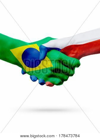 Flags Brazil Czech Republic countries handshake cooperation partnership friendship or sports team competition concept isolated on white