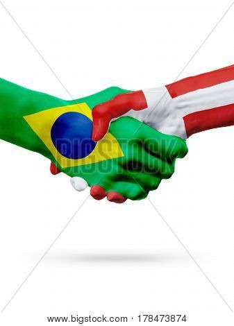 Flags Brazil Denmark countries handshake cooperation partnership friendship or sports team competition concept isolated on white