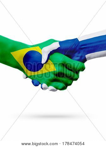 Flags Brazil Finland countries handshake cooperation partnership friendship or sports team competition concept isolated on white