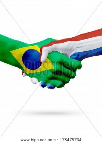 Flags Brazil Netherlands countries handshake cooperation partnership friendship or sports team competition concept isolated on white