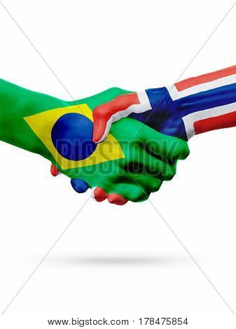 Flags Brazil Norway countries handshake cooperation partnership friendship or sports team competition concept isolated on white