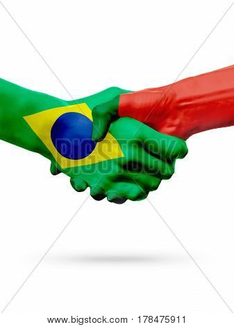 Flags Brazil Portugal countries handshake cooperation partnership friendship or sports team competition concept isolated on white