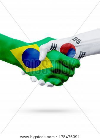 Flags Brazil South Korea countries handshake cooperation partnership friendship or sports team competition concept isolated on white