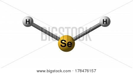 Hydrogen selenide is an inorganic compound with the formula H2Se. This hydrogen chalcogenide is the simplest and most commonly encountered hydride of selenium. 3d illustration