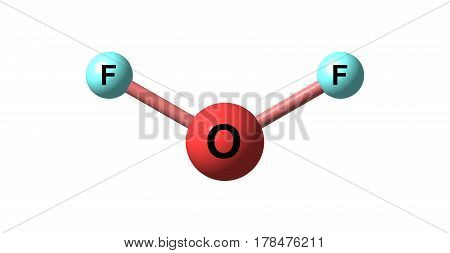 Oxygen difluoride is the chemical compound with the formula OF2. It is a strong oxidizer. 3d illustration