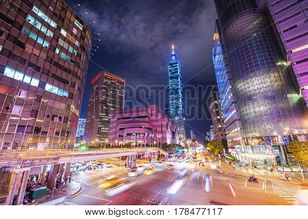 Taipei cityscape at twilight in Taiwan city.