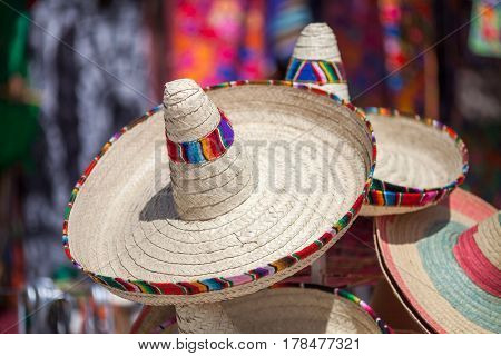 Few mexican sombrero in the souvenir shop