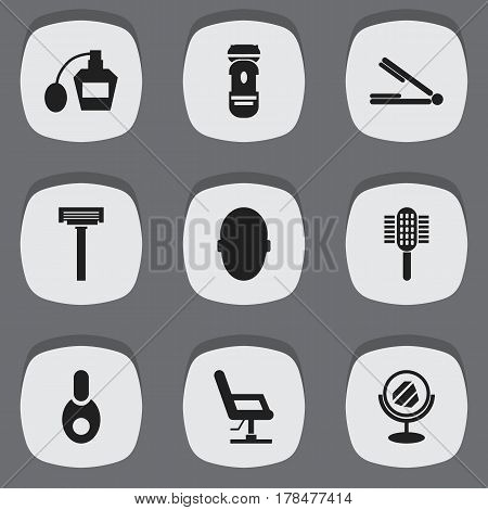 Set Of 9 Editable Tonsorial Artist Icons. Includes Symbols Such As Brains, Elbow Chair, Vial And More. Can Be Used For Web, Mobile, UI And Infographic Design.