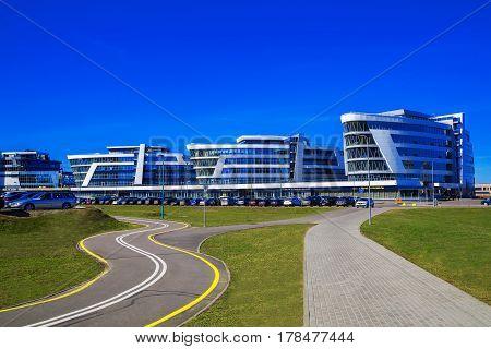 Minsk Belarus - March 23 2017 modern architecture business center Riviera Plaza on Pobediteley Avenue editorial