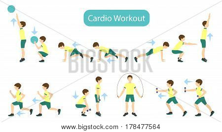 Exercises for kids set. Workout for boy. Cardio exercises with weights, jumping rope and ball. Healthy lifestyle for children.