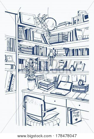 Modern interior home library, bookshelves, workplace. hand drawn sketch illustration