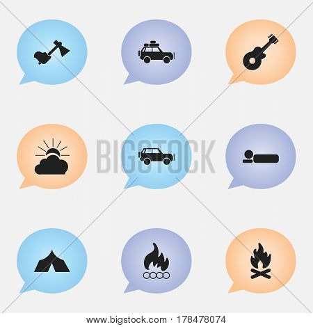 Set Of 9 Editable Trip Icons. Includes Symbols Such As Fever, Sunrise, Bedroll And More. Can Be Used For Web, Mobile, UI And Infographic Design.