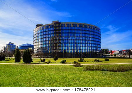 Minsk Belarus - March 23 2017 modern architecture business center and hotel Victoria Olympus on Pobediteley Avenue editorial