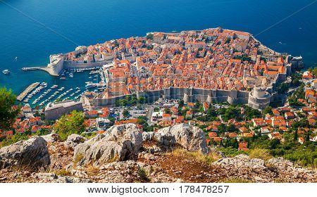 beautiful aerial view of Dubrovnik medieval Old town South Dalmatia Croatia