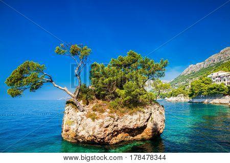 famous Brela Rock near Punta Rata beach Makarska Riviera Croatia