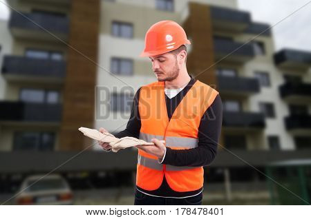 Male Constructor Outdoor At Working Place