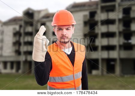 Construction Worker Doing Luck Sign