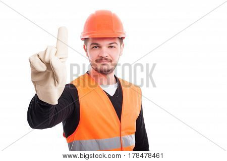 Happy Young Architect With Hardhat And Protection Equipment