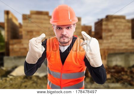 Angry Or Furious Builder  Doing Offended Gesture