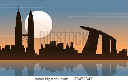 Silhouette of Malaysia Singapore city tour scenery vector art