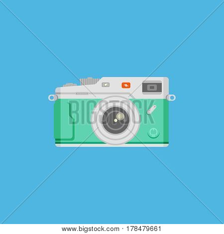Green camera on blue background vector concept. Retro photo camera illustration in modern flat style. Color picture for design web site, web banners, printed materials.