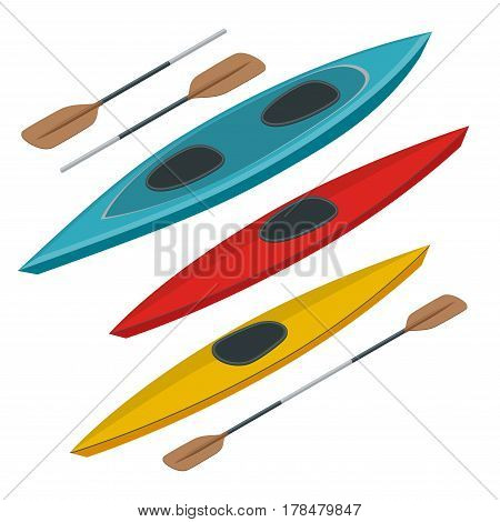 Rafting and kayaking icons collection. Isometric plastic kayak water recreational, touring or travel transport. Flat 3d illustration for infographics and design.