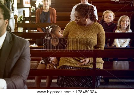Mother Daughter Sitting Church Believe Religion