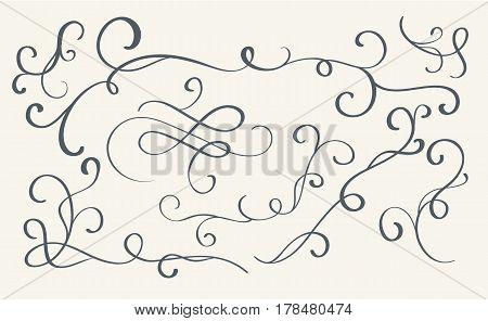 set of art calligraphy flourish vintage decorative whorls for design. Vector illustration EPS10.