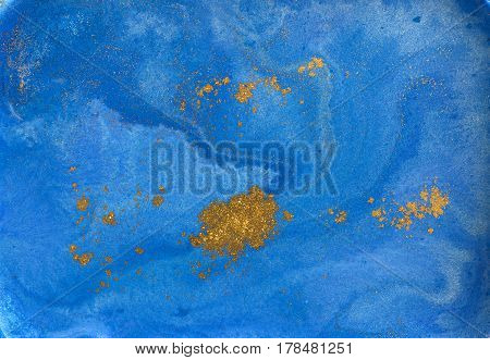 Blue and golden liquid texture watercolor hand drawn marbling illustration abstract background.