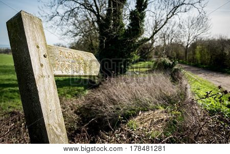 English Countryside Public Footpath Sign
