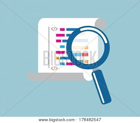 magnifying glass with program coding vector illustration