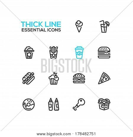 Fast Food Cafe Menu - set of modern vector line design icons. Hot dog, hamburger, french fries, sandwich, pizza, ice cream, soda, muffin, bakon, ketchup, mustard, pop corn, donut, chicken roll-up sandwich coffee wok