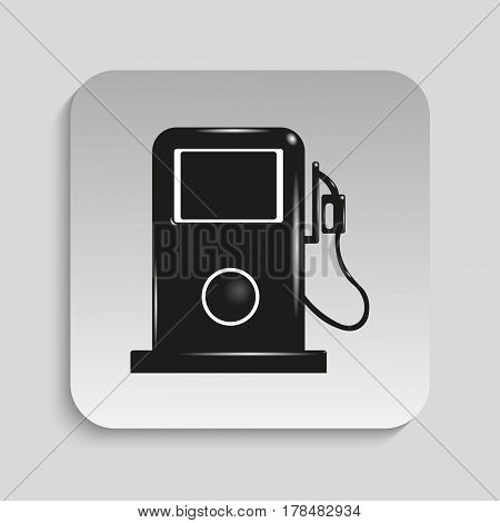 Petrol station. Vector icon. Black and white image on a gray background.