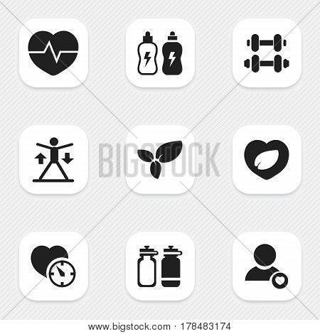 Set Of 9 Editable Fitness Icons. Includes Symbols Such As Training, Stopwatch, Energetic Beverage And More. Can Be Used For Web, Mobile, UI And Infographic Design.