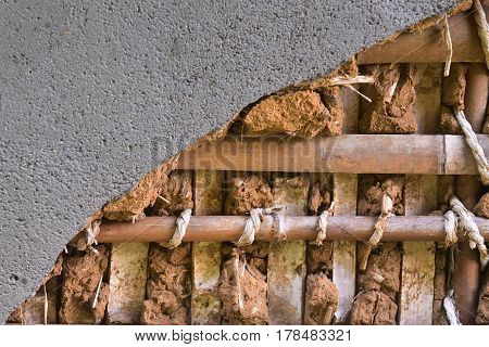 Japanese wall structure close up .The wall surface is cement and inside is clay and bamboo with rope pattern