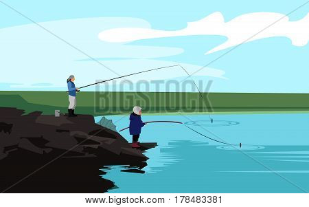 Poster with father and his son standing on rocks near the lake with their fishing rod. Fishing concept banner background. Vector illustration