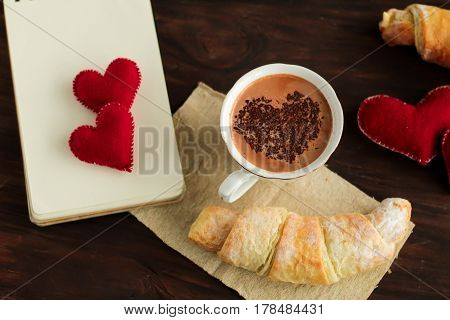 Cup Of Hot Chocolate And Croissant