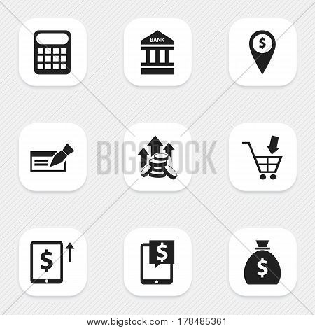 Set Of 9 Editable Investment Icons. Includes Symbols Such As Exchange Center, To Deposit Money, Cash Growth And More. Can Be Used For Web, Mobile, UI And Infographic Design.