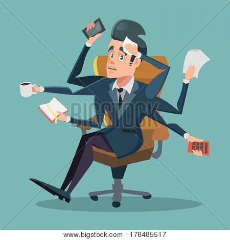 Shocked Multitasking Businessman at Office Work. Vector cartoon illustration