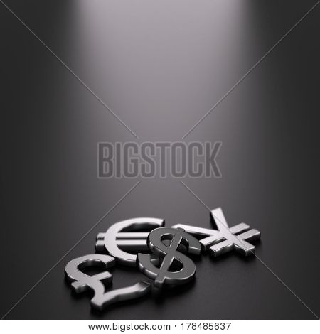 3D illustration of the four main currencies over black background with free space on the top.