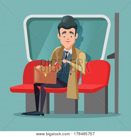 Young Businessman Inside Metro. Vector Cartoon illustration