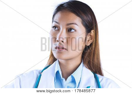 Focused asian woman thinking on white background